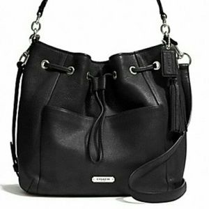 Coach Drawstring Avery Bucket Black Leather